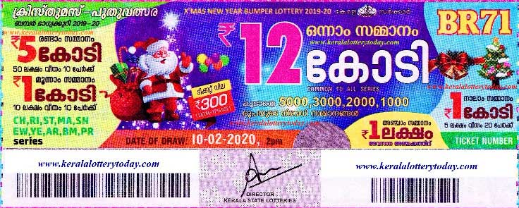 A ticket of the kerala state bumper lottery 2020