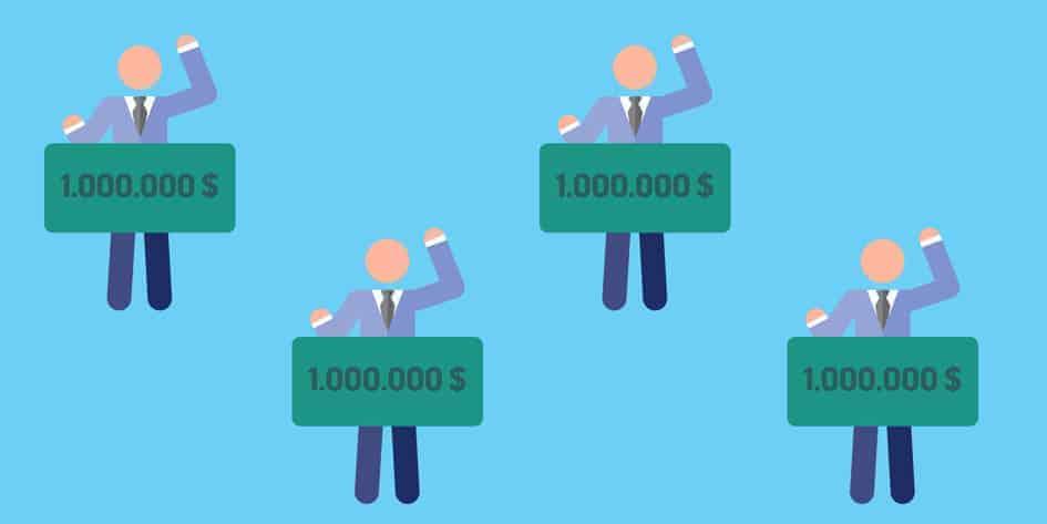 cartoon of 4 million dollar lottery winners