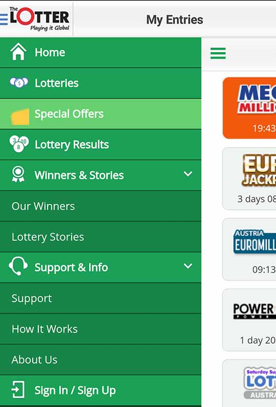 lottosmile lottery app sidebar
